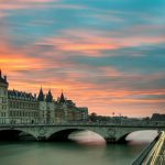bridge at sunset in Paris