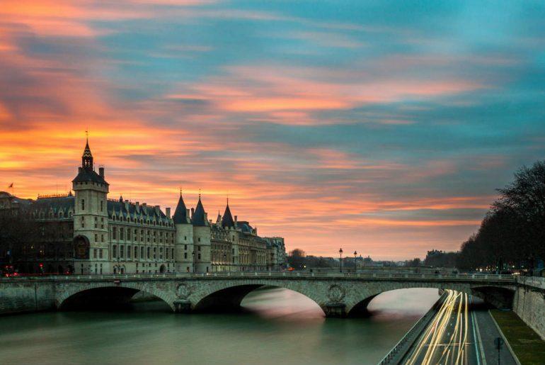 bridge at sunset in Paris