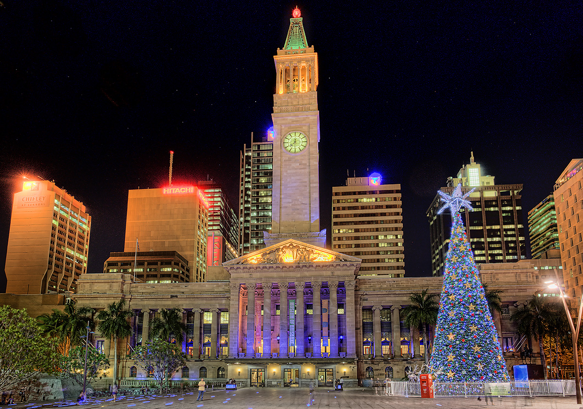 Christmas Light show at Brisbane Town Hall
