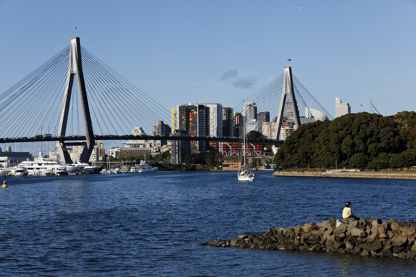 View of the Anzac Bridge from Blackwattle Bay, Glebe. Source: James Horan, Destination NSW