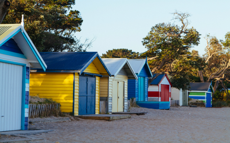 Bathing boxes at the Mornington Peninsula, Victoria.