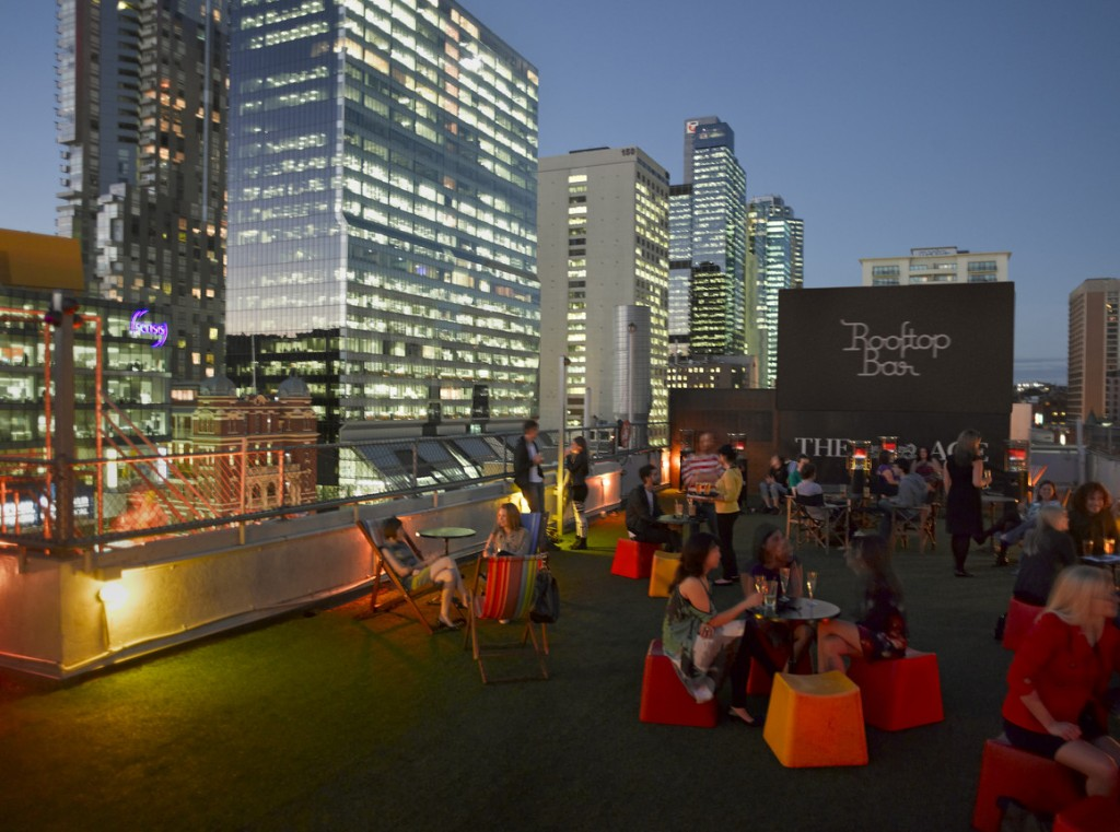 rooftop bar and cinema at curtin house