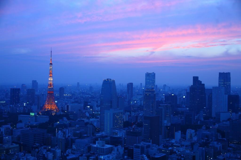 Skyline of Tokyo at dusk