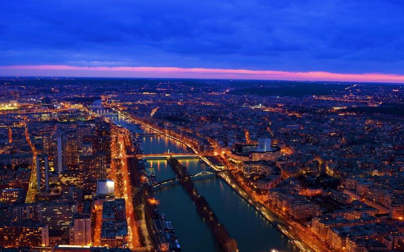 Paris at night, France