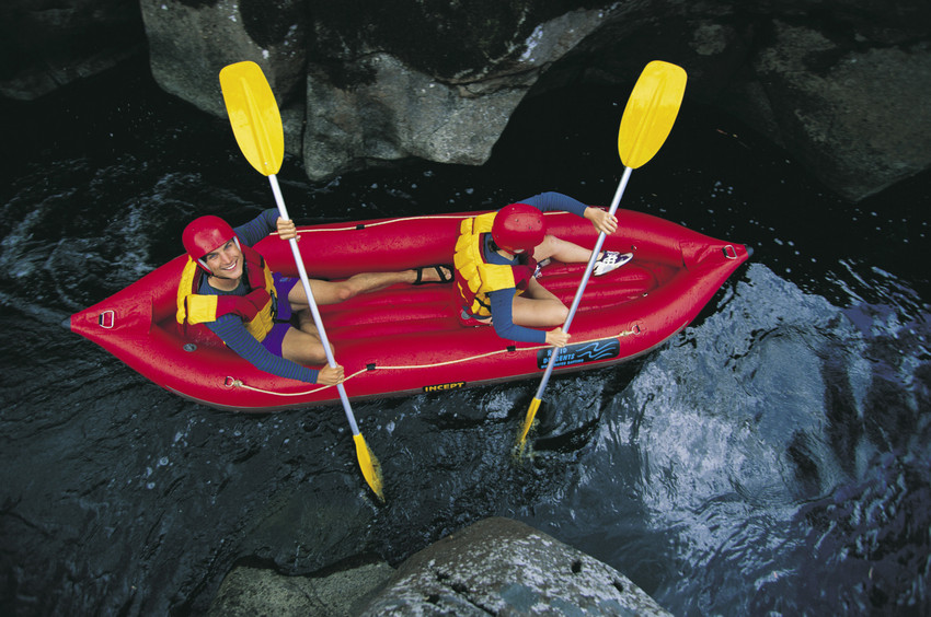 White water rafting on Thredbo River in kosciuszko national park in Summer