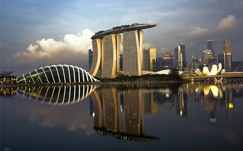morning view from marina bay singapore