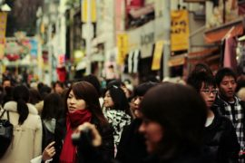 A crowded Tokyo street, Japan