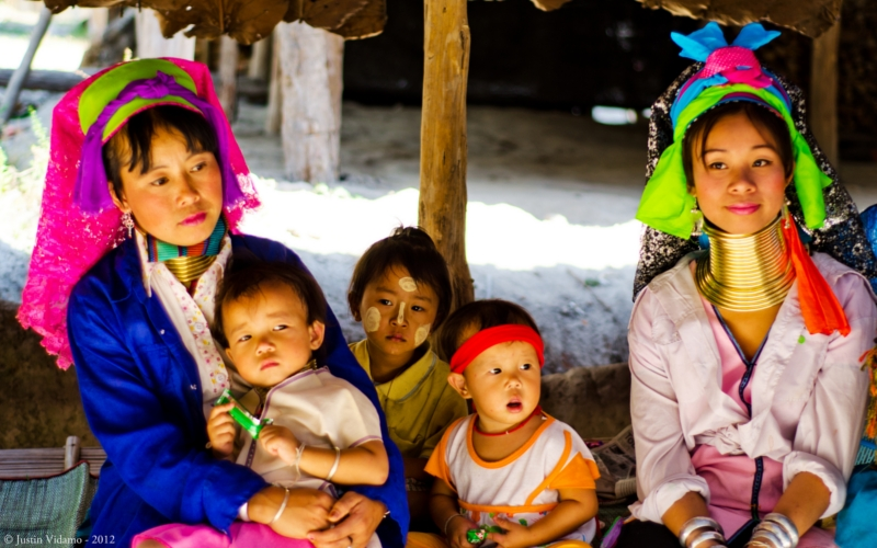 karen long-neck tribe family Chiang Mai Northern Thailand.