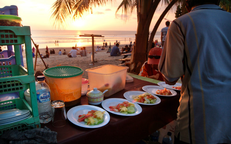 Selemat makan served on Kuta Beach, Bali, Indonesia.
