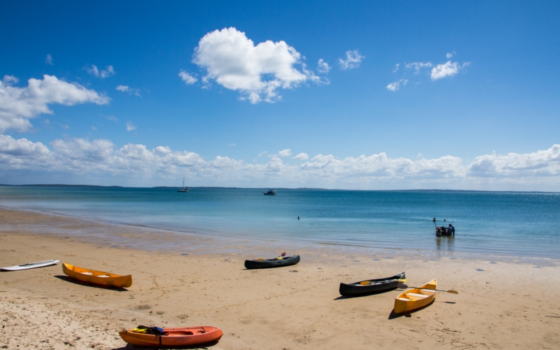 kayaks on the beach at fraser island queensland