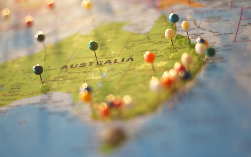 map Australia pins