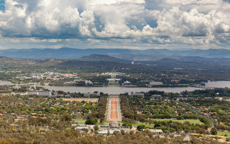 The view from Mount Ainslie Lookout, Canberra