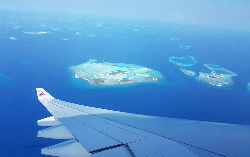 Maldives islands atolls plane