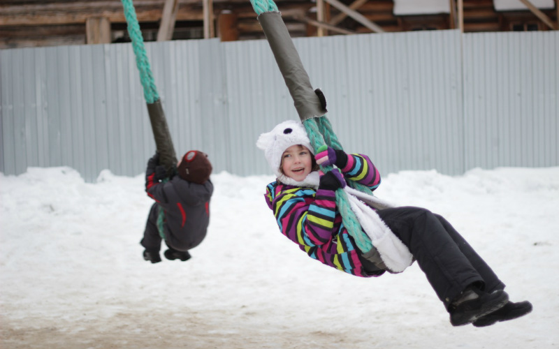 children snow swing