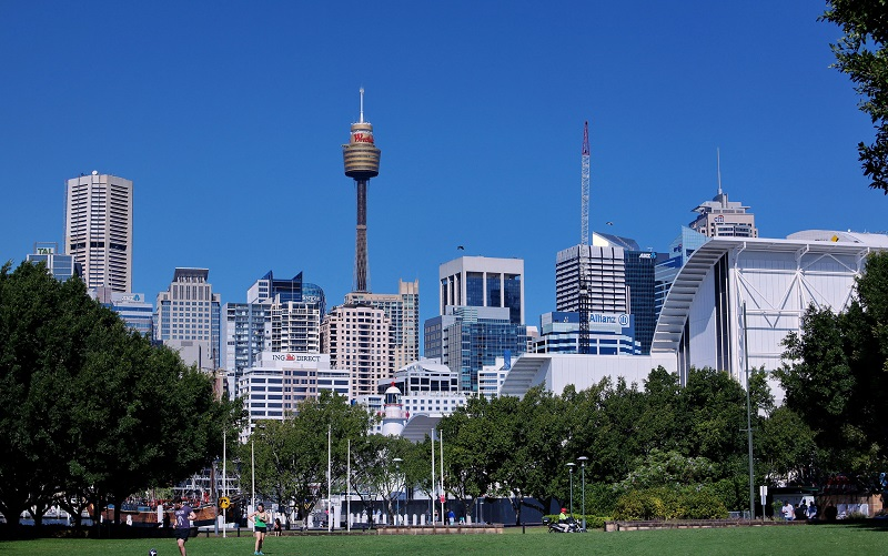 The view of Sydney's skyline from Pyrmont Park.