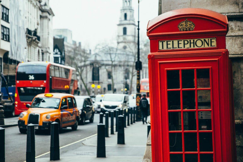 London England street taxi bus cars