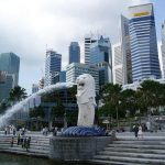 Singapore Merlion and skyline