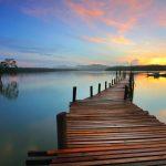 Sunrise over river lake
