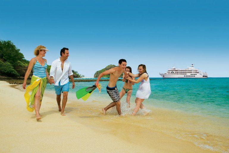Family cruise ship beach
