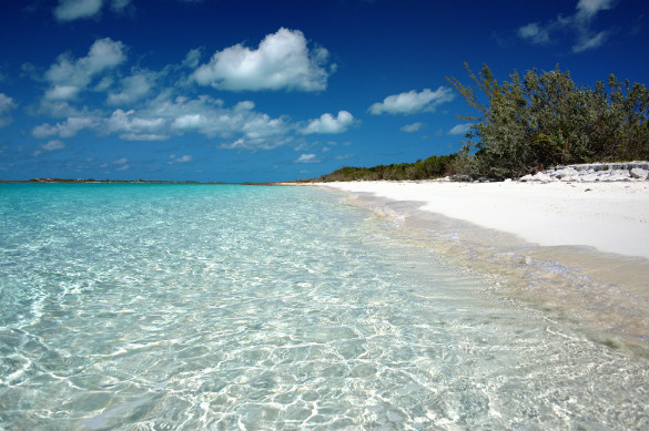 White sand beach in The Bahamas