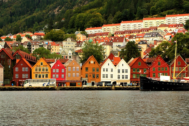 A streetscape of Bergen, Norway