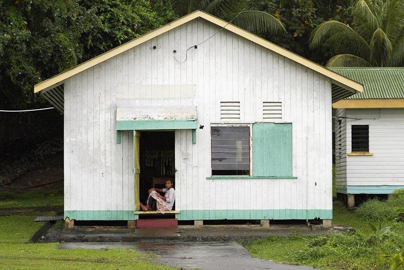 House on Ovalua Island in the Fiji Islands