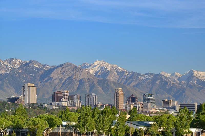 City skyline of Salt Lake City in Utah, United States of America